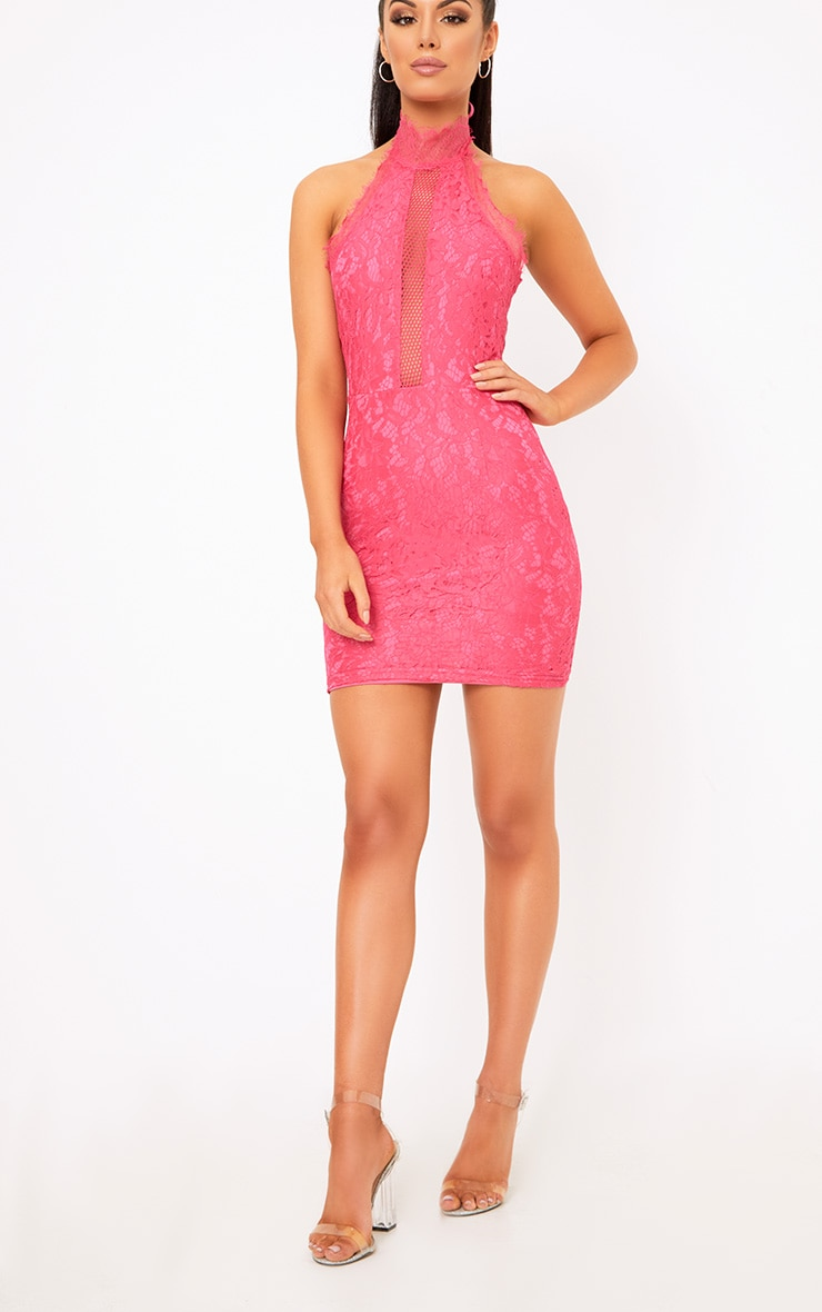 Shelby Hot Pink Lace High Neck Bodycon Dress 3