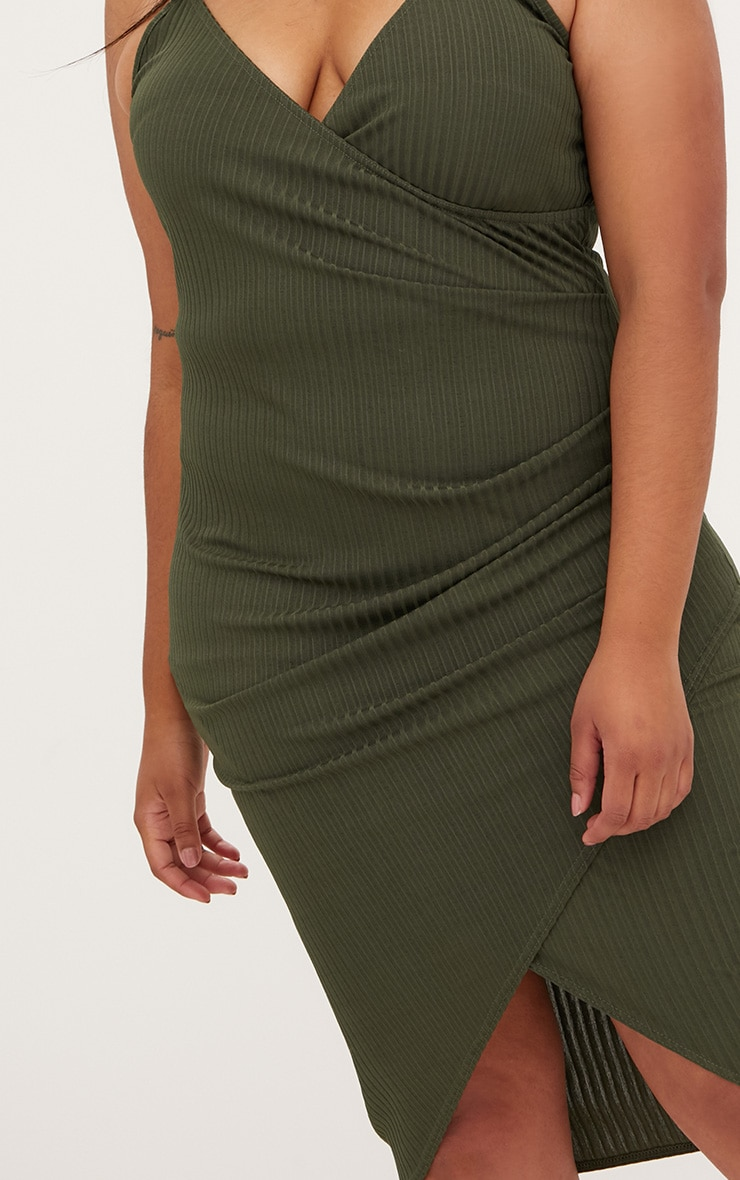 Plus Khaki Ribbed Cami Midi Dress 5