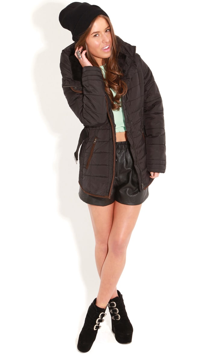 Connie Black Padded Coat With Belt 3