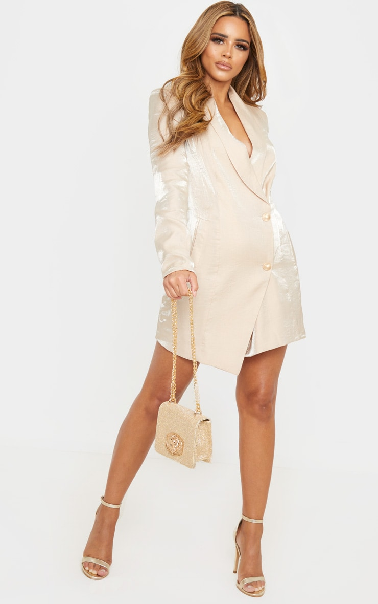 Petite Champagne Shimmer Gold Button Blazer Dress 4