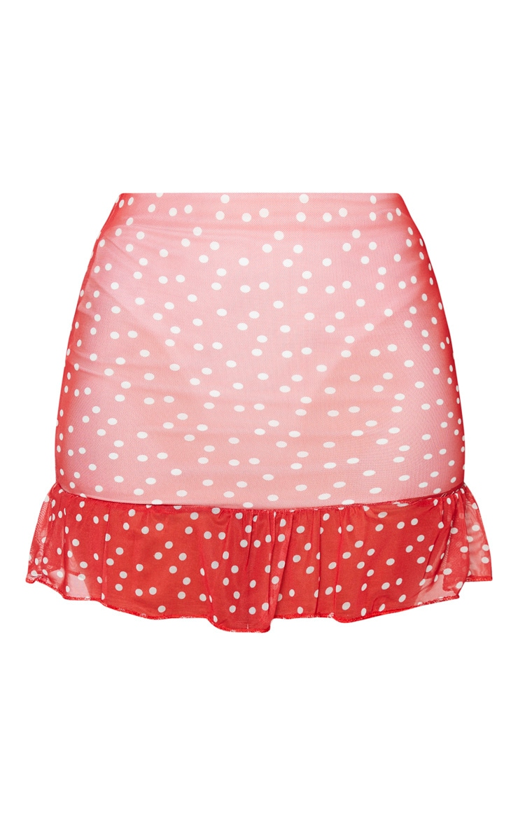 Red Polkadot Mesh Frill Hem Mini Skirt 6