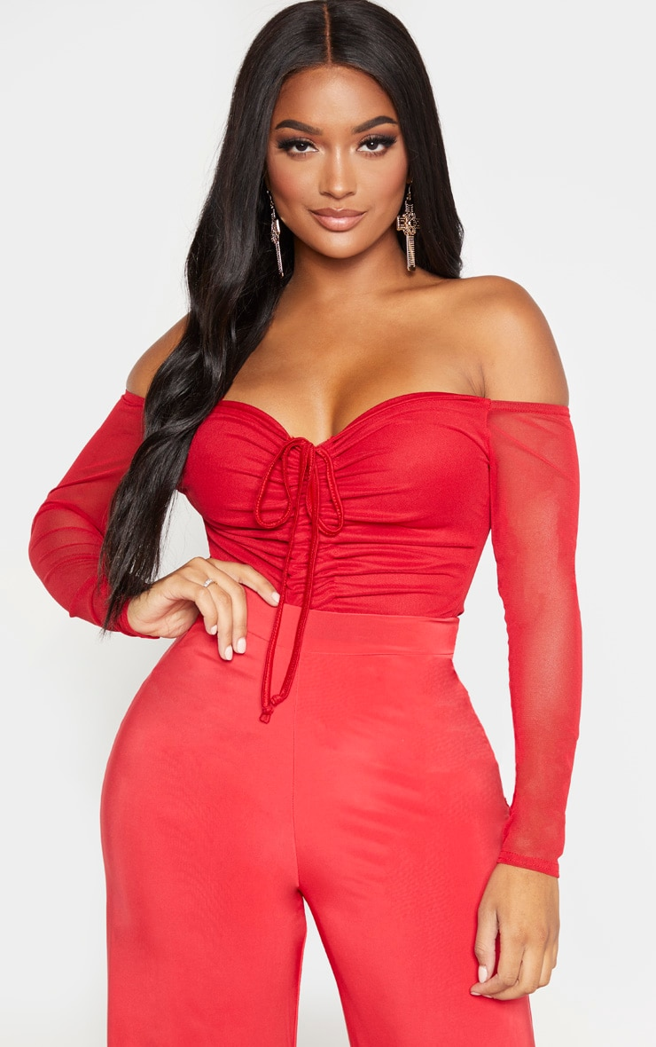 Shape Red Mesh Long Sleeve Ruched Bodysuit 1