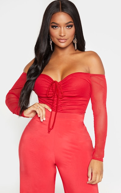 Shape Red Mesh Long Sleeve Ruched Bodysuit