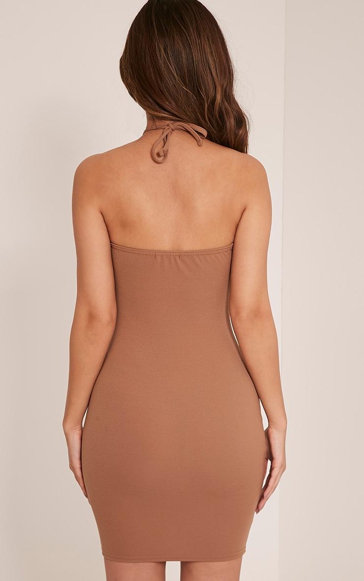 Tabby Camel High Neck Scallop Detail Bodycon Dress 2