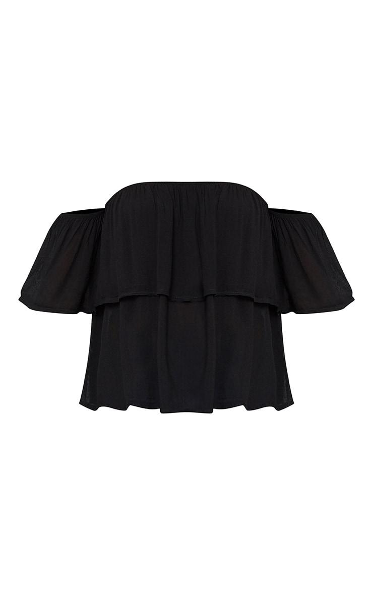 Black Soft Bardot Shortsleeve Frill Top 2