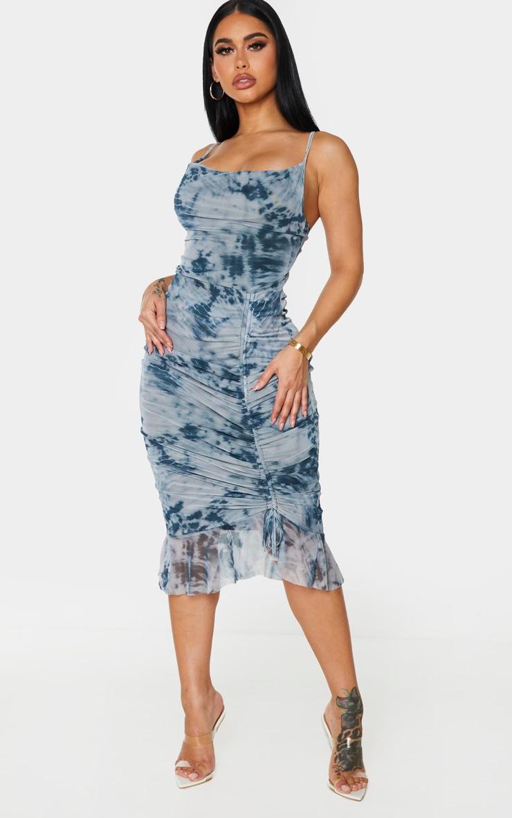 Shape Blue Tie Dye Mesh Cowl Ruched Midi Dress 3