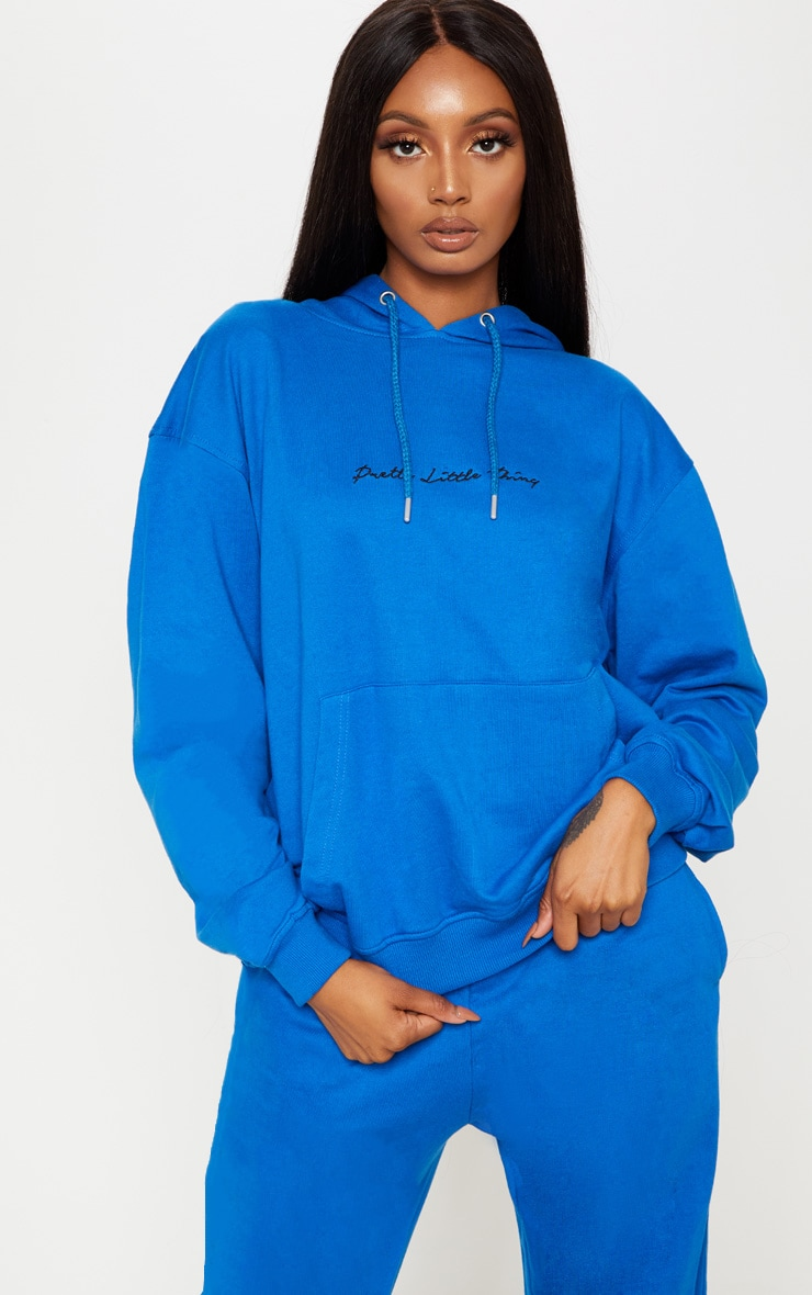 Prettylittlething Cobalt Embroidered Oversized Hoodie by Prettylittlething