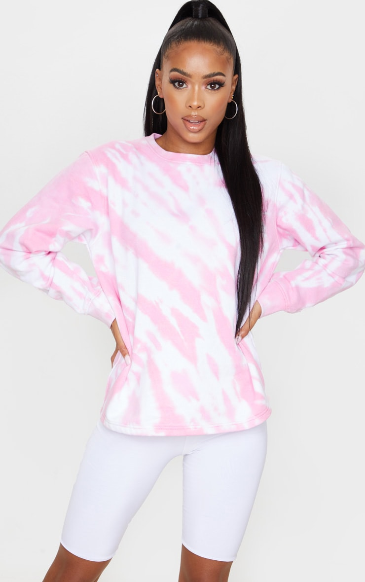 Pink Oversized Tie Dye Sweater 1