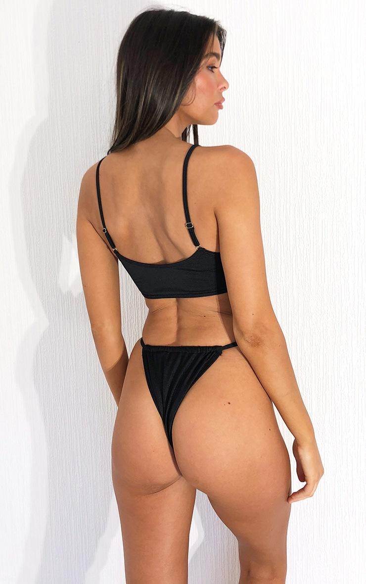 PRETTYLITTLETHING Black Scoop Neck Bikini Top 2
