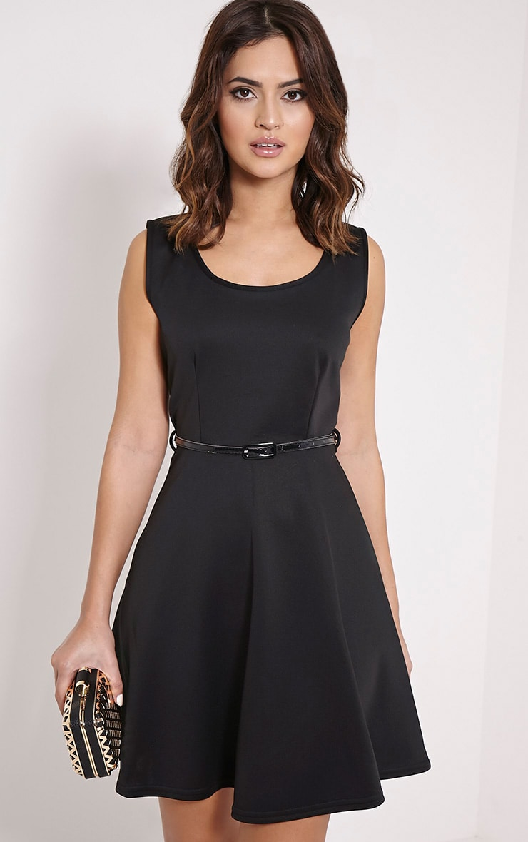 Monique Black Belted Skater Dress 1
