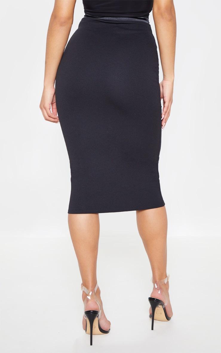 Black Satin Waistband Midi Skirt 4