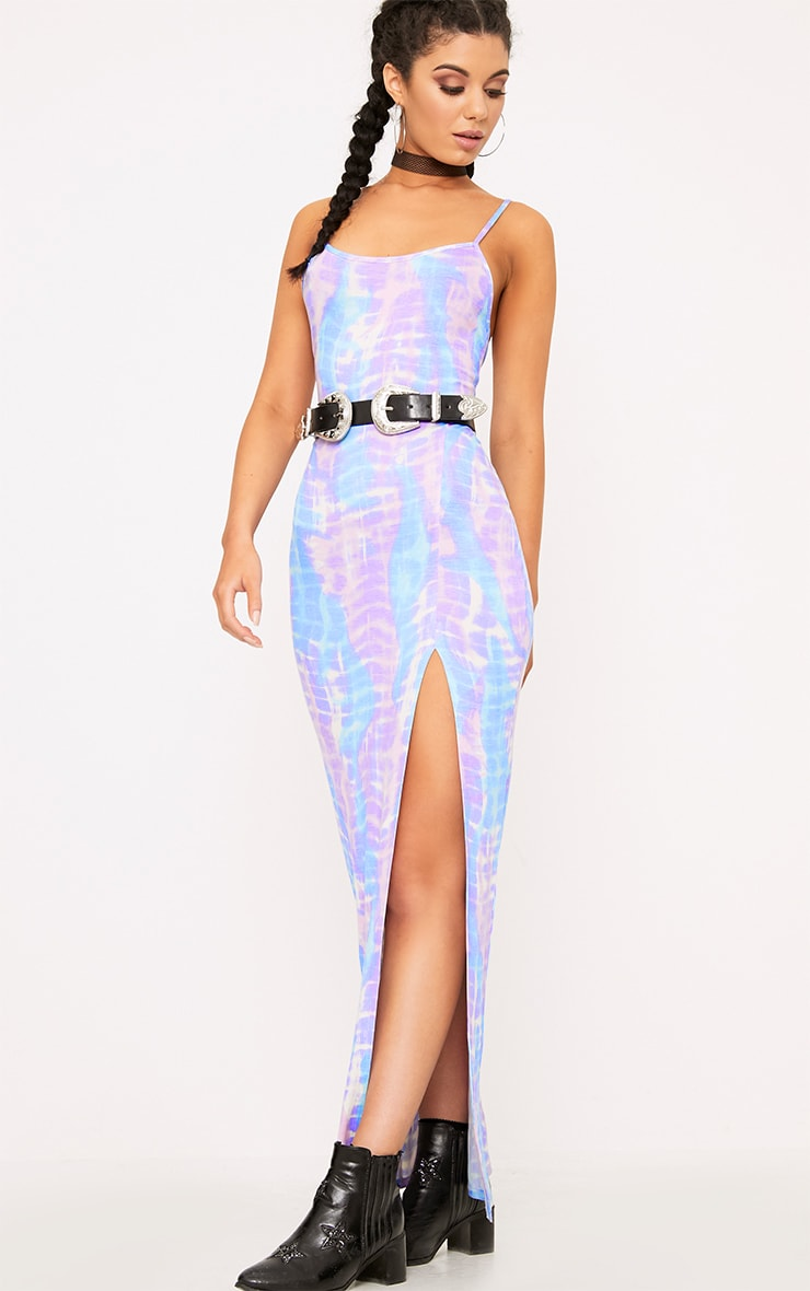 Lilac Tie Dye Strappy Thigh Split Maxi Dress  4