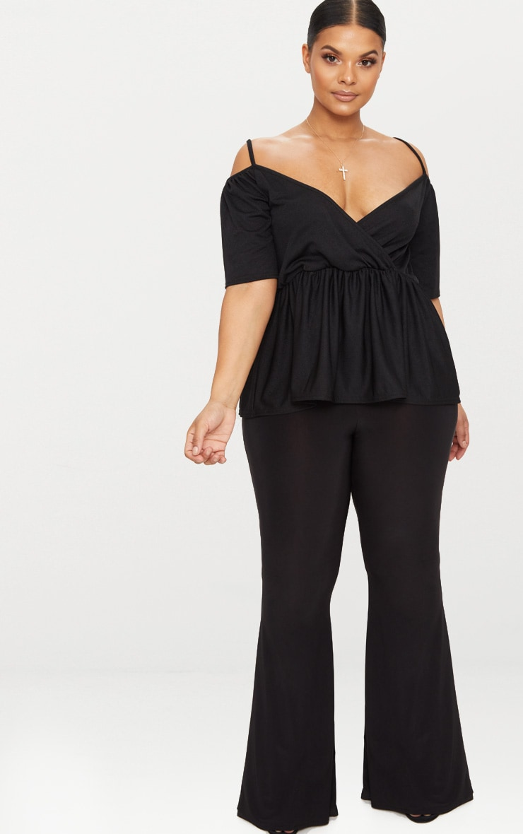 Plus Black Cold Shoulder Frill Hem Top 4