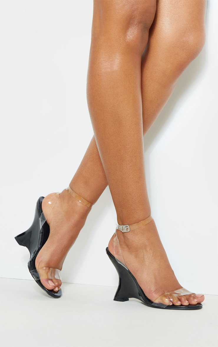 Black Patent Clear Strap Wedge 2