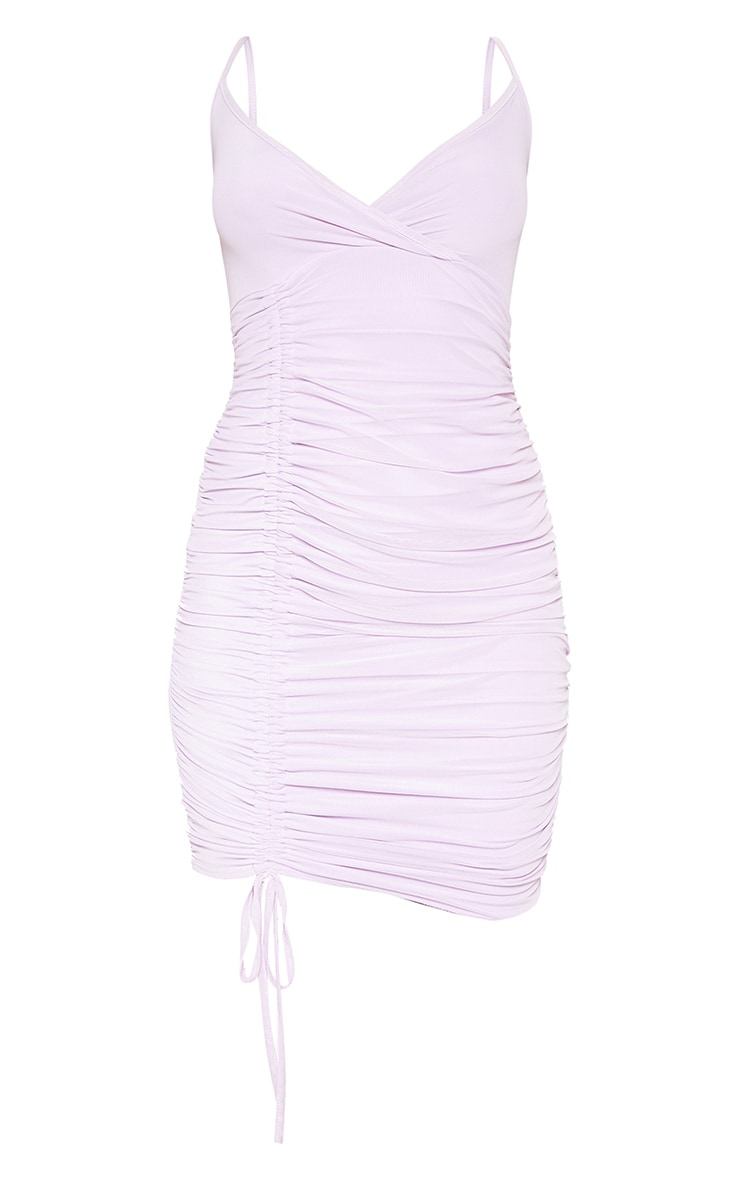 Lilac Strappy Mesh Ruched Side Bodycon Dress 3
