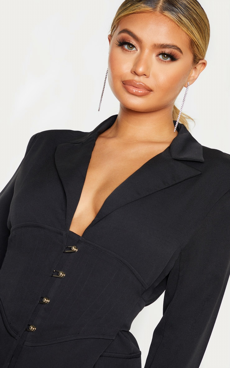 Black Pin Detail Corset Blazer Dress 5