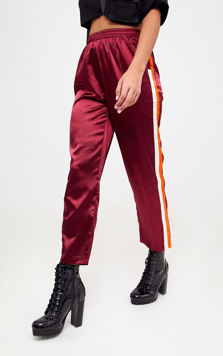 Burgundy Satin Side Stripe Boxer Joggers 2