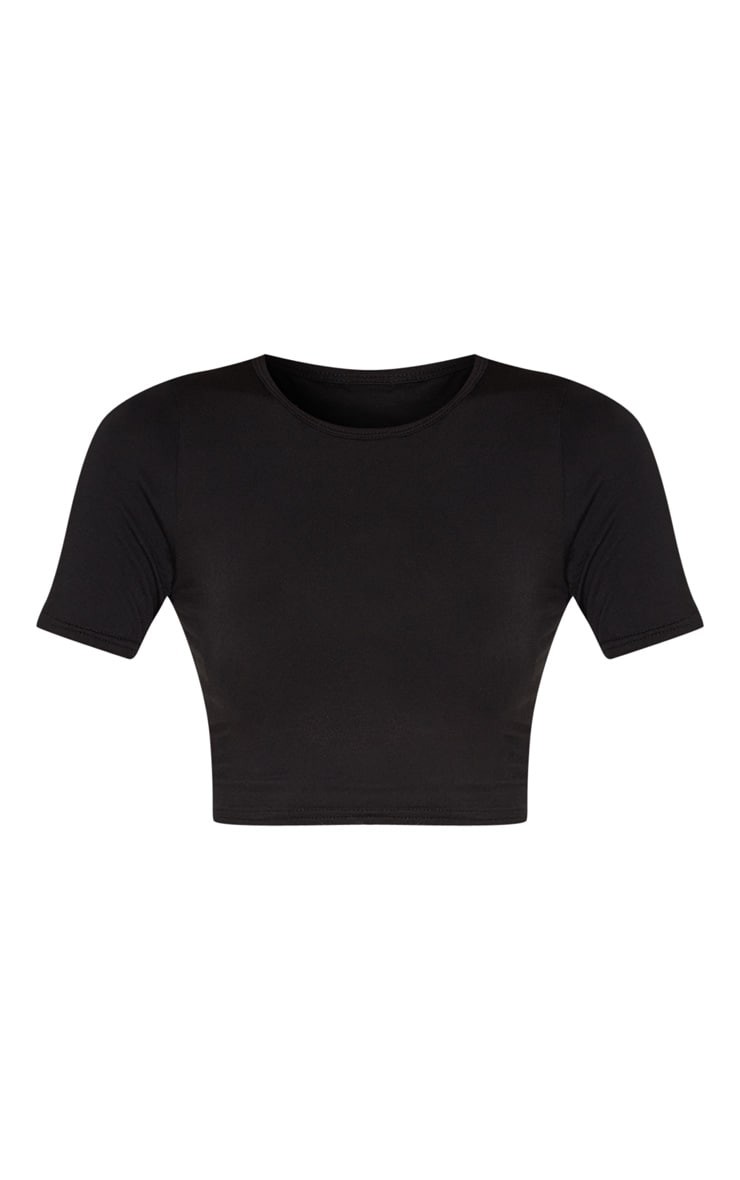Tall Black Short Sleeve Crop Top 3