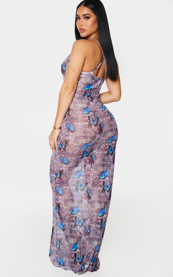 Shape Purple Butterfly Mesh Sheer Cowl Maxi Dress 2