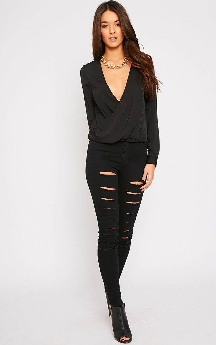 Ruby Black Silky Wrap Over Front Top  3