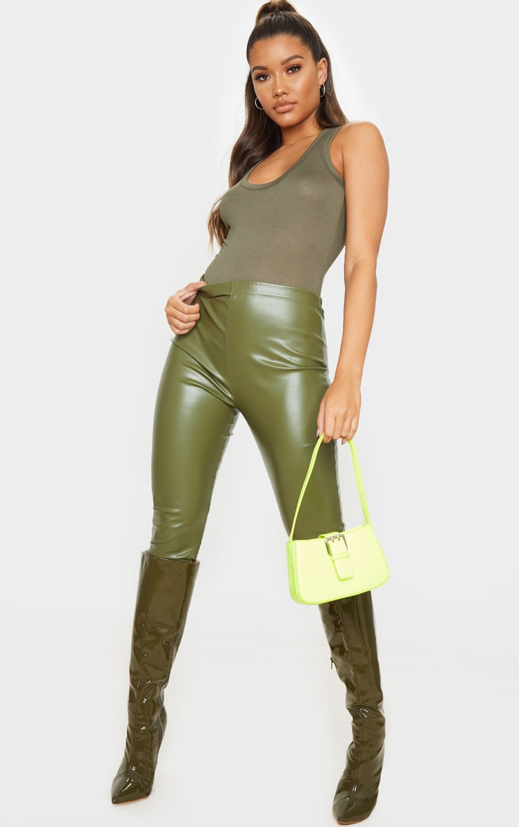Khaki Jersey Scoop Neck Sleeveless Bodysuit 3