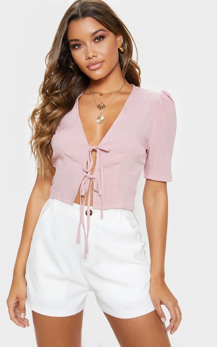 Pink Gingham Tie Front Short Sleeve Crop Top 1