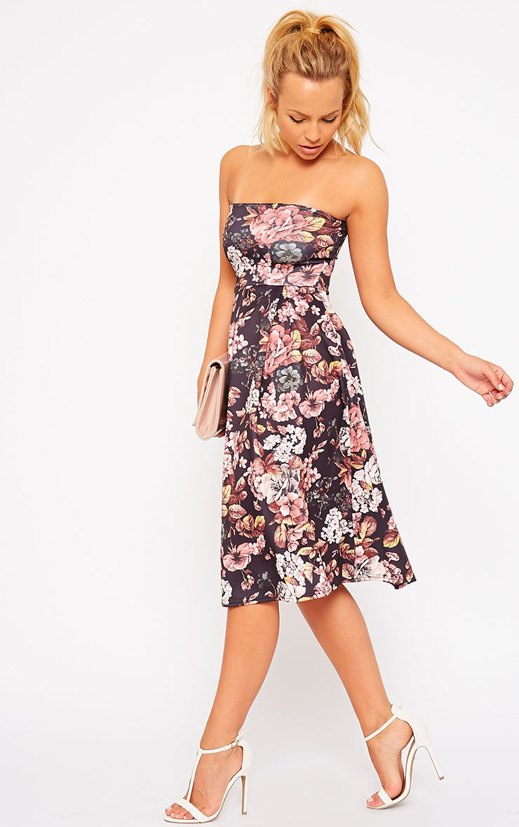 Dacia Black Floral Bandeau Skater Dress 1