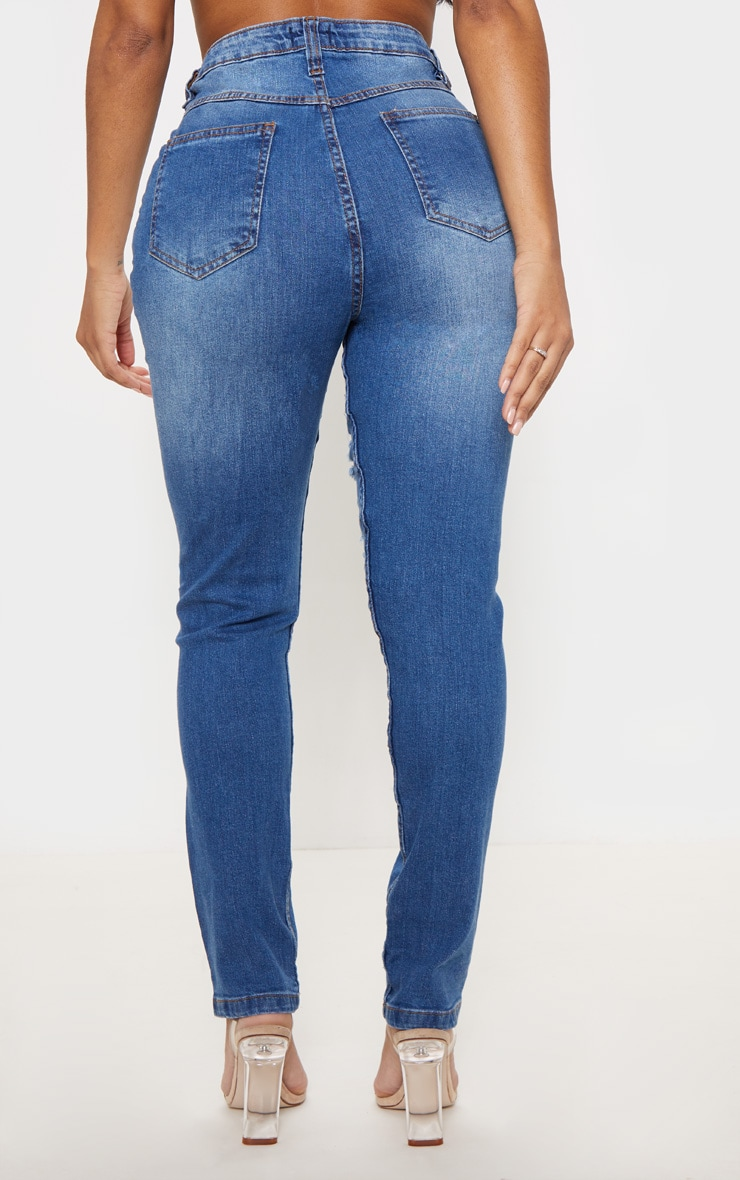 Shape High Waist Mid Wash Extreme Rip Skinny Jeans 4