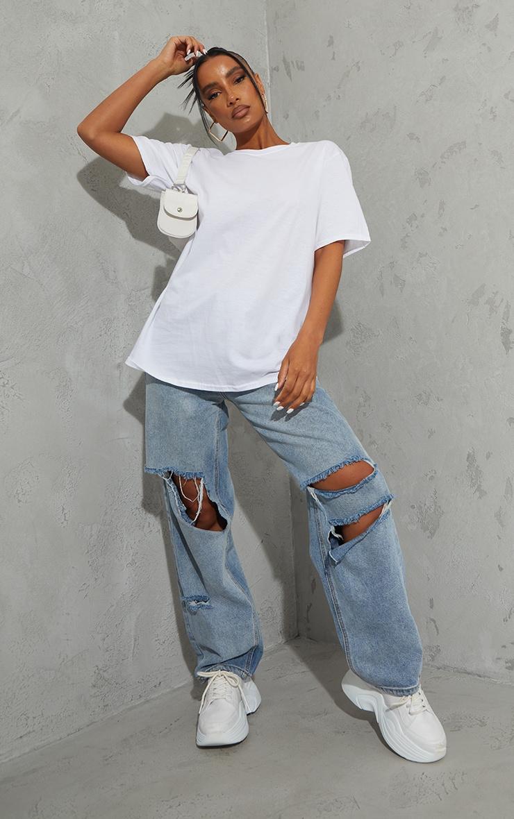 White La Circle Print Washed T Shirt 3