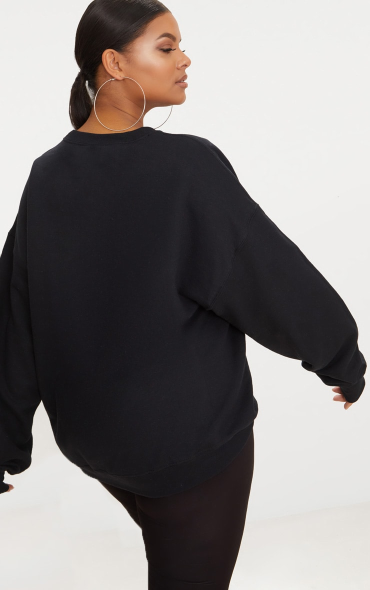 Plus Black California Slogan Oversized Sweater 2