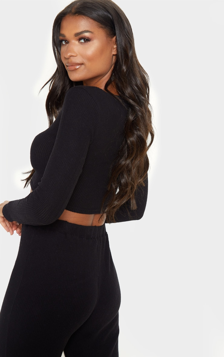 Black Brushed Rib V Detail Crop Top 2