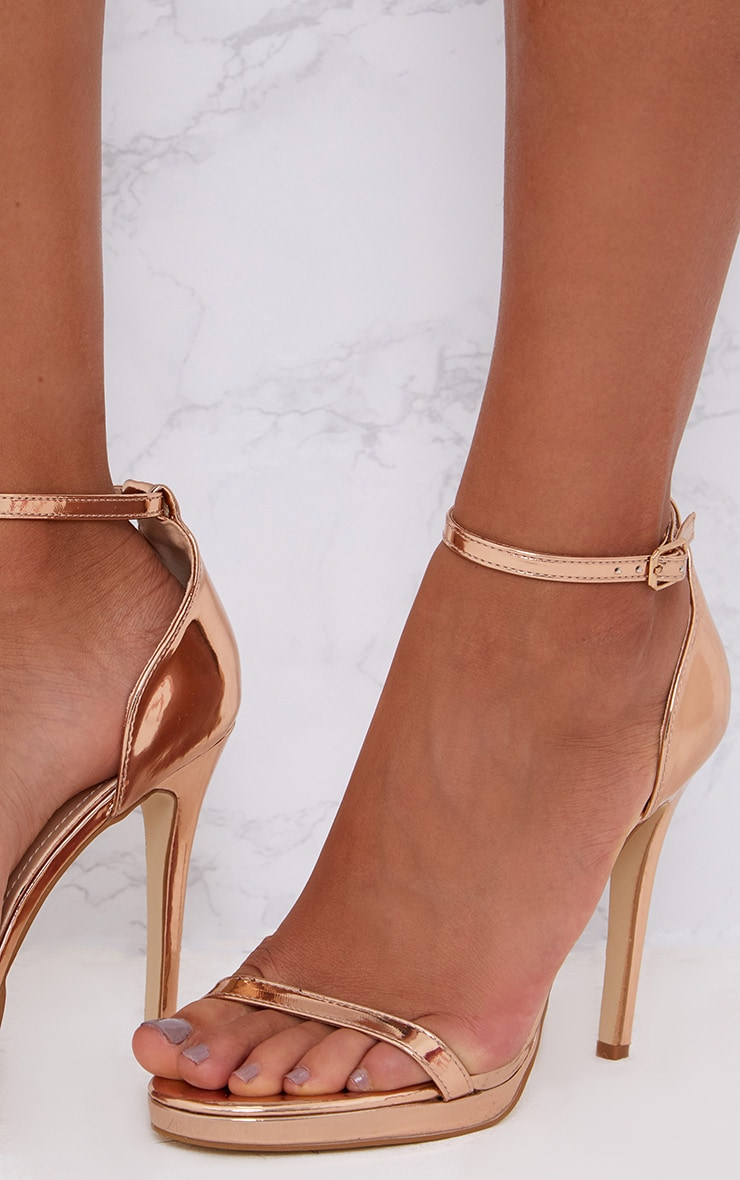 Rose Gold Single Strap Heeled Sandals 5