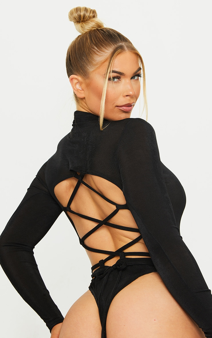 Black Acetate Slinky High Neck Cut Out Side Seam Bodysuit 4