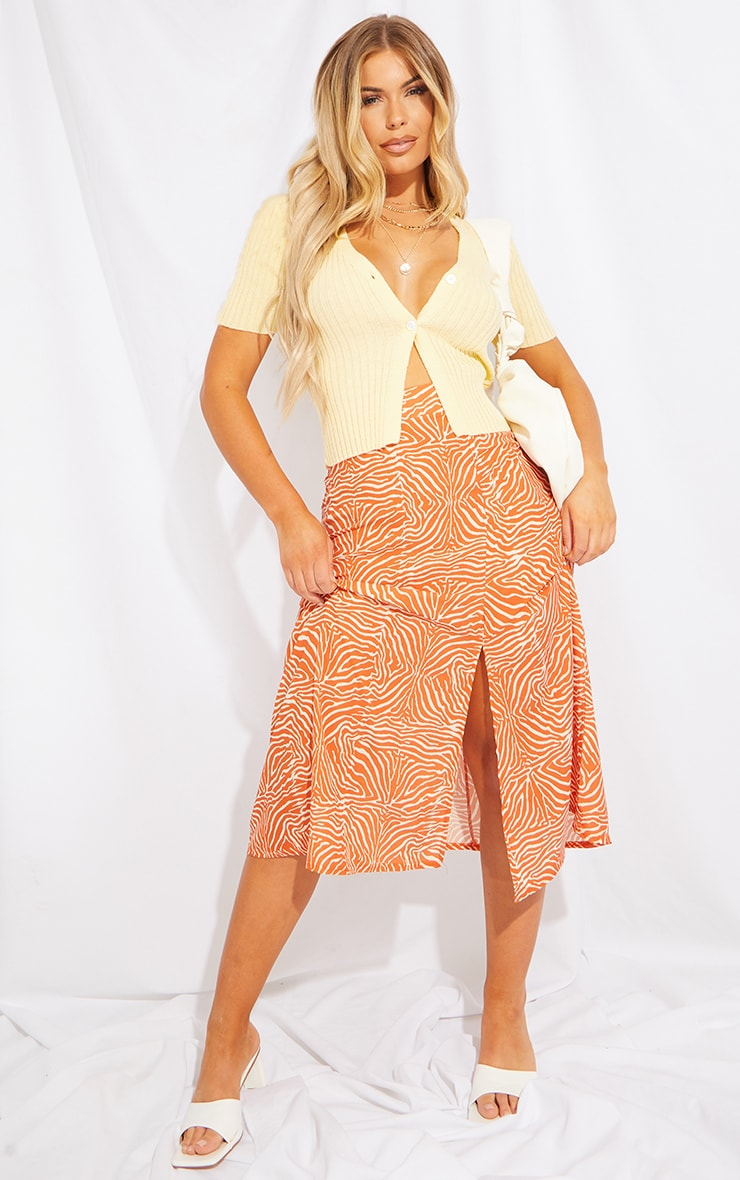 Orange Zebra Floaty Midi Skirt 1