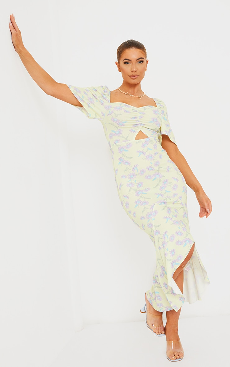Yellow Floral Print Short Sleeve Ruched Bust Midi Dress 1
