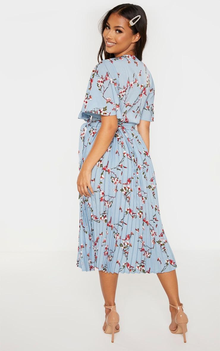Petite Dusty Blue Floral Pleated Midi Dress 2