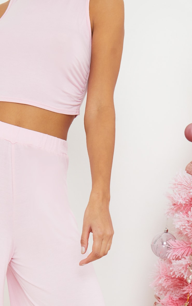 Pink Ruched Crop Top And Wide Leg Trousers Pj Set 4