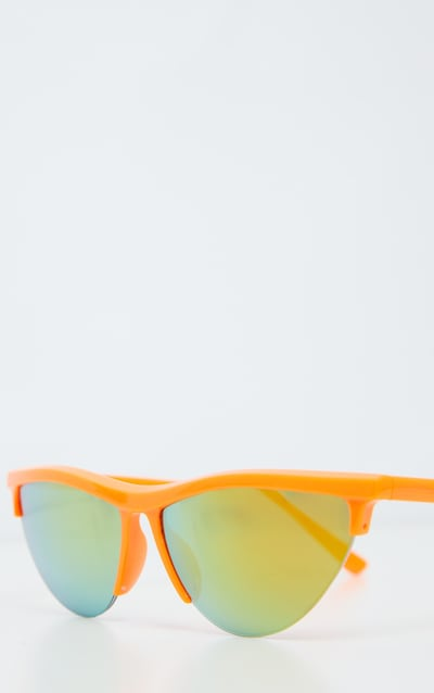 Neon Orange Half Frame Revo Cateye Sunglasses