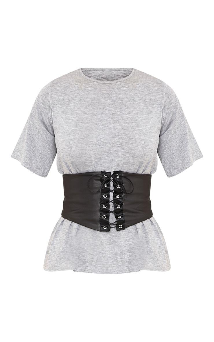Leanora Grey PU Corset Detail T Shirt 3