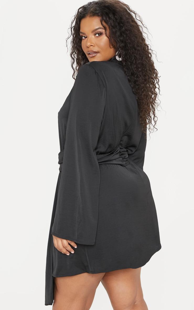 Plus Black Hammered Satin Drape High Neck Shift Dress 2
