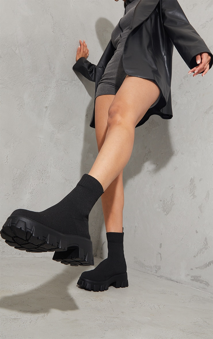 Black Knitted Sock Ankle Boots 2