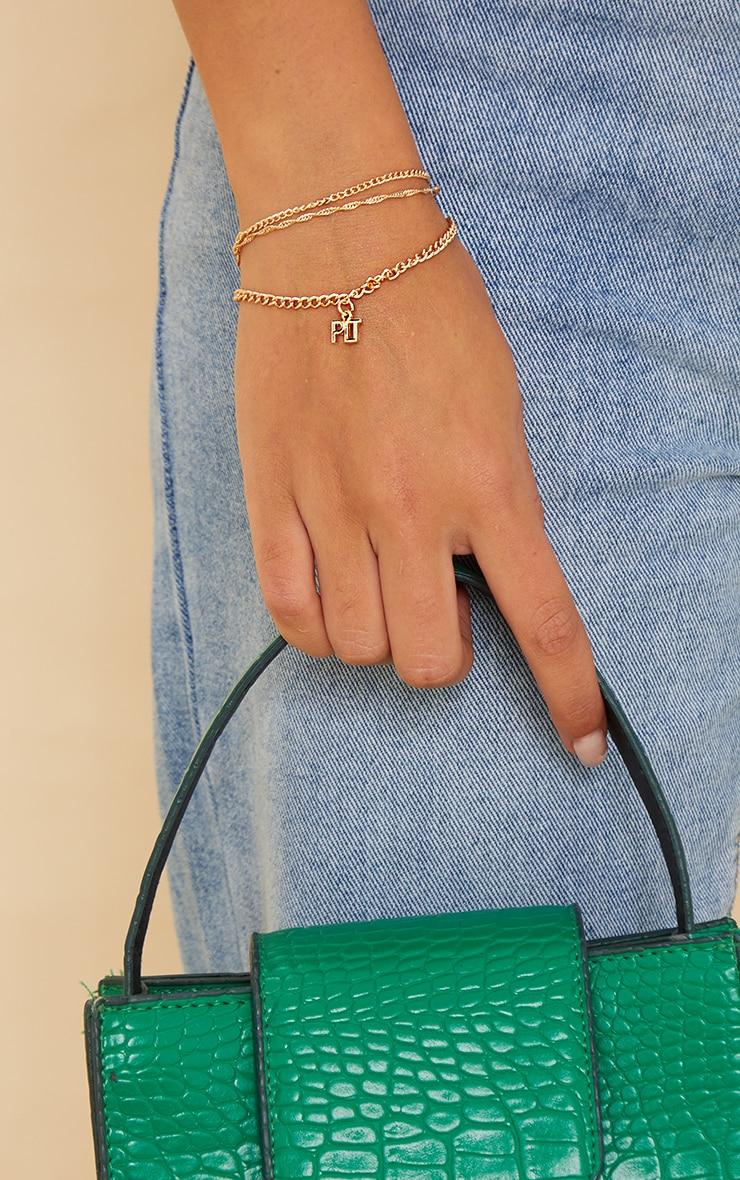 PRETTYLITTLETHING Gold Three Pack Dainty Chain Bracelets 1