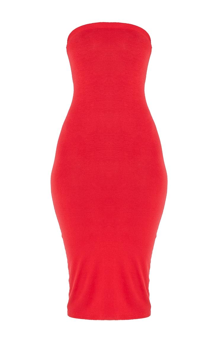 فستان ميداكسي باندو سادة باللون الأحمر 6