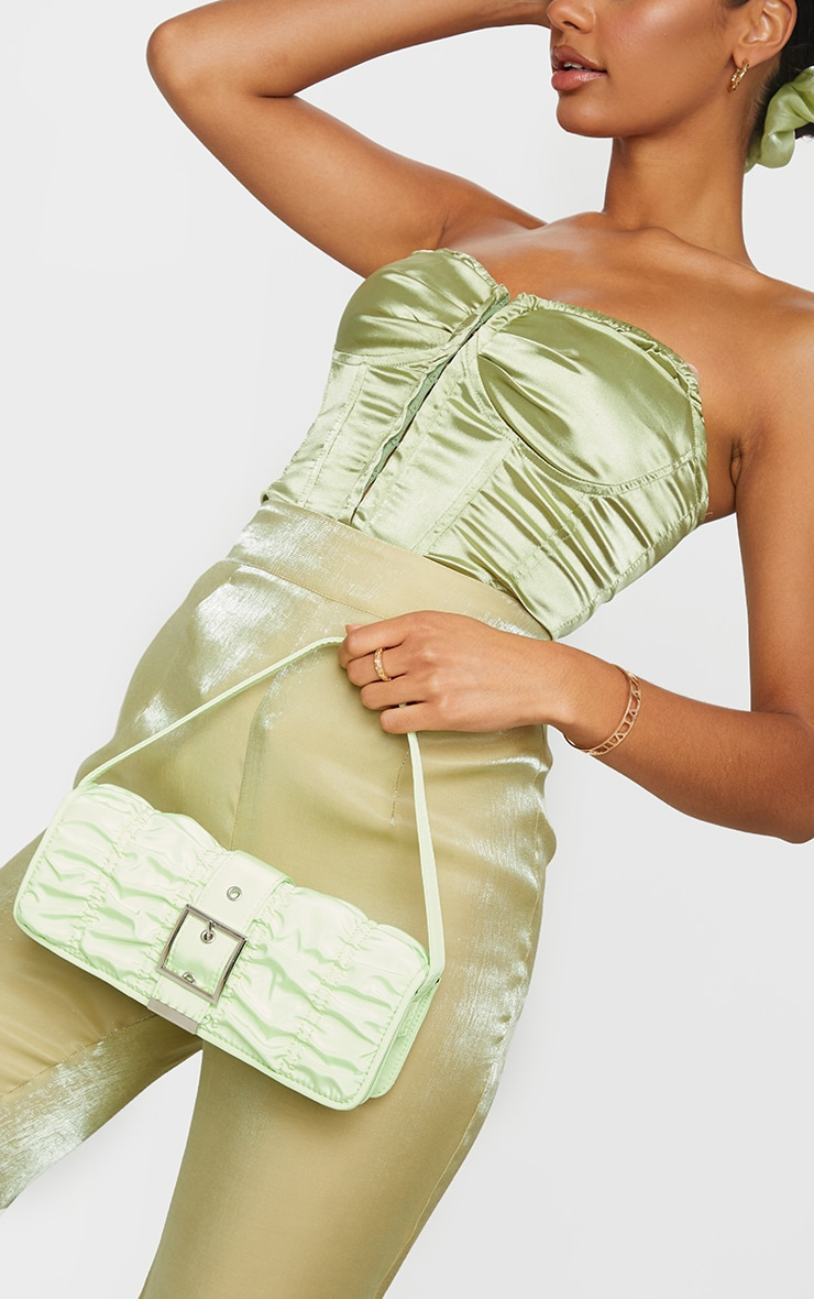 Lime Ruched Silver Buckle Shoulder Bag 1