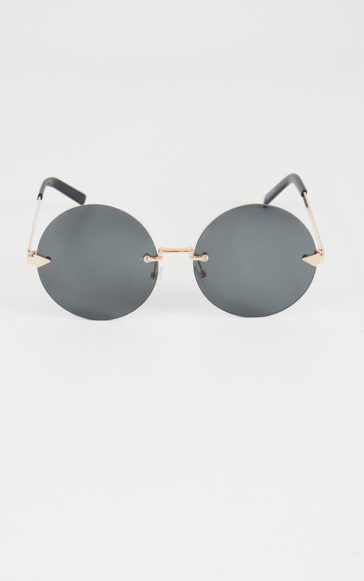 Black Round Frameless Sunglasses 2
