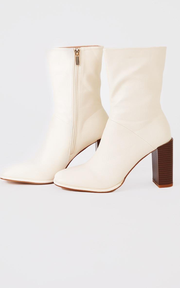 Cream Round Toe Block Heel Ankle Boots 1