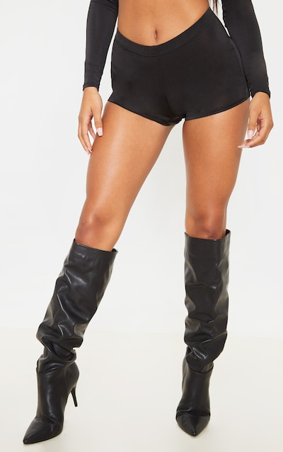 Black Slinky Hipster Hot Pants