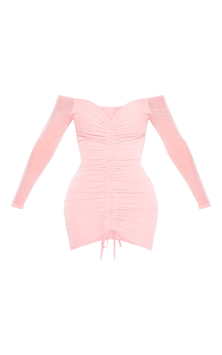 Shape Dusty Rose Mesh Ruched Bardot Bodycon Dress 3