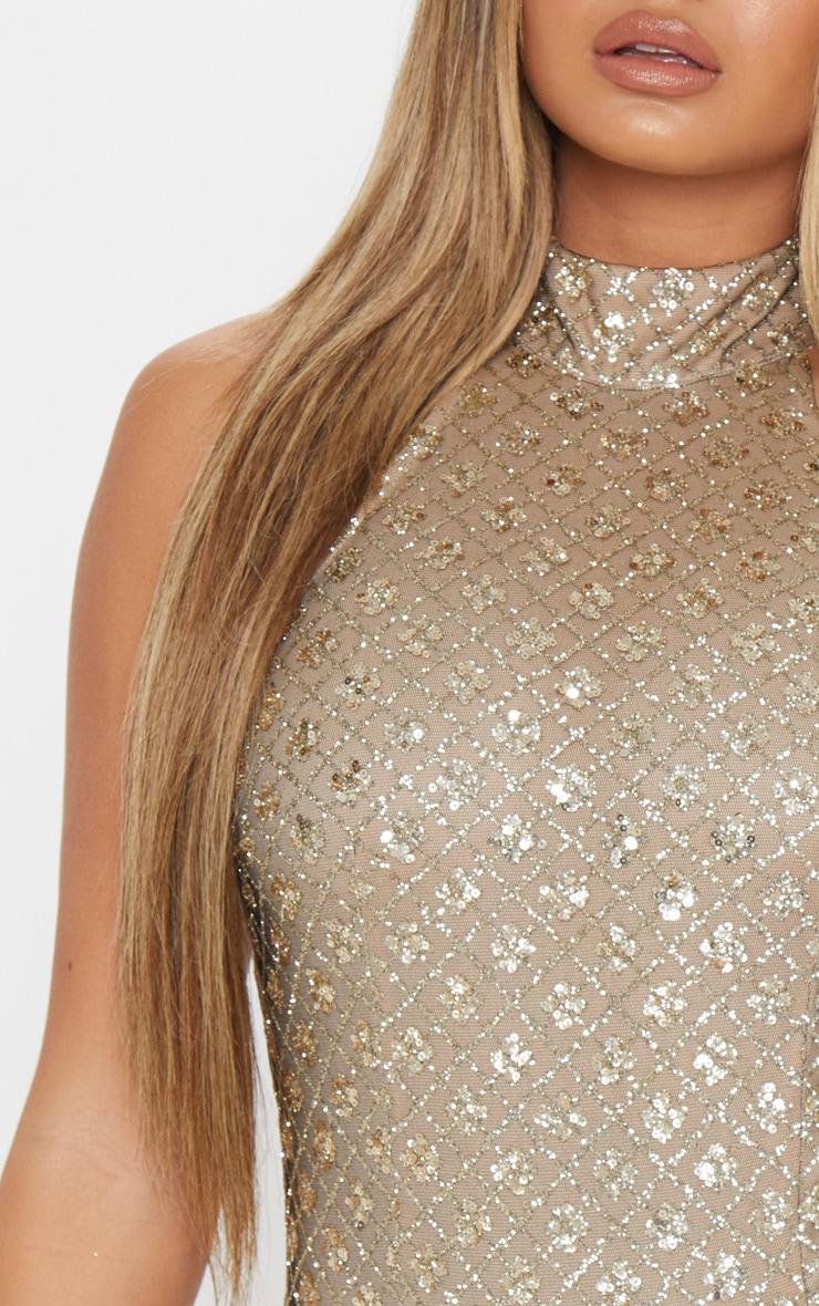 Gold Halterneck Glitter Bodysuit 6