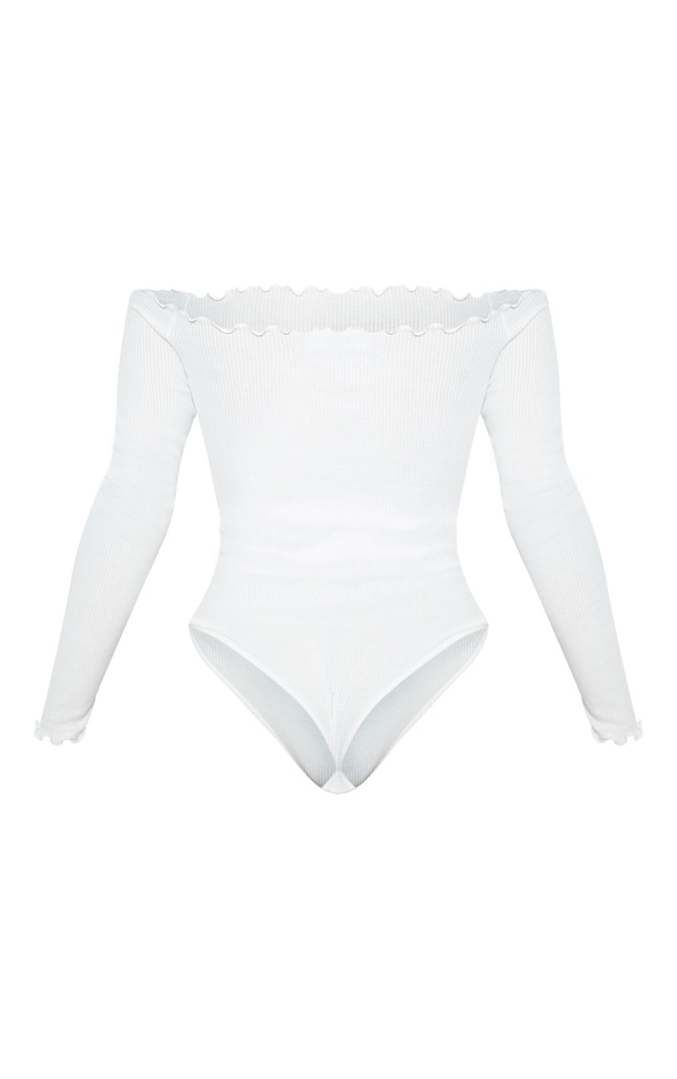White Frill Edge Long Sleeve Thong Bodysuit  4